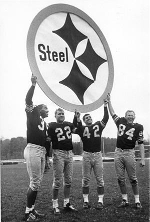Steelers football team with original logo